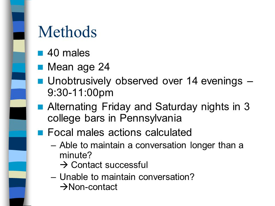 Methods 40 males Mean age 24 Unobtrusively observed over 14 evenings – 9:30-11:00pm Alternating Friday and Saturday nights in 3 college bars in Pennsylvania Focal males actions calculated –Able to maintain a conversation longer than a minute.