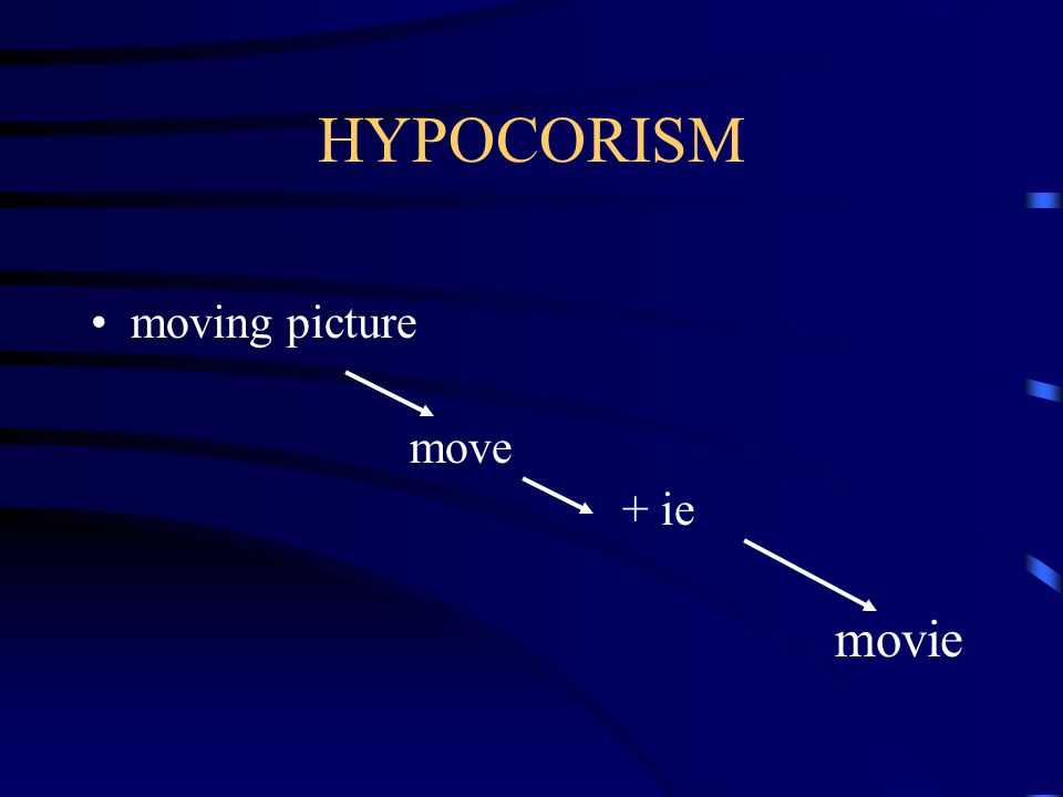 Aussie HYPOCORISM A longer word is reduced to a single syllable and then -y or -ie is added Australian Auss + -ieAussie