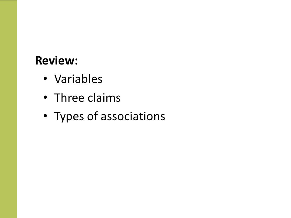 Review: Variables Three claims Types of associations