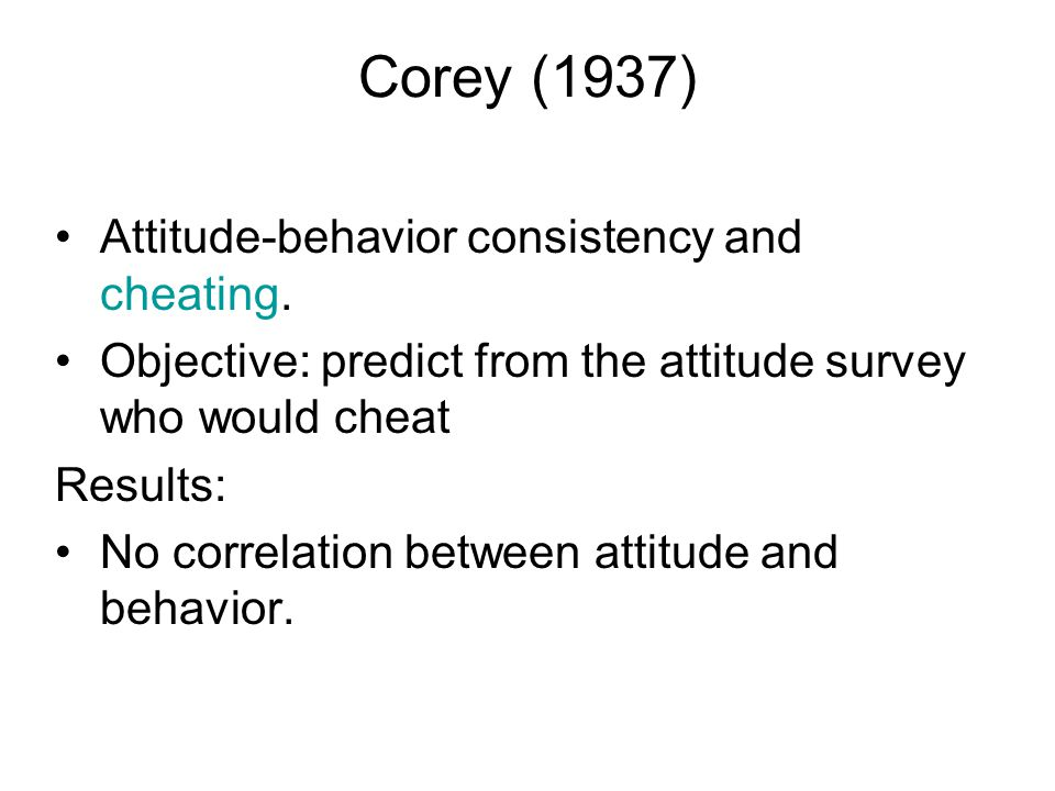 Corey (1937) Attitude-behavior consistency and cheating.