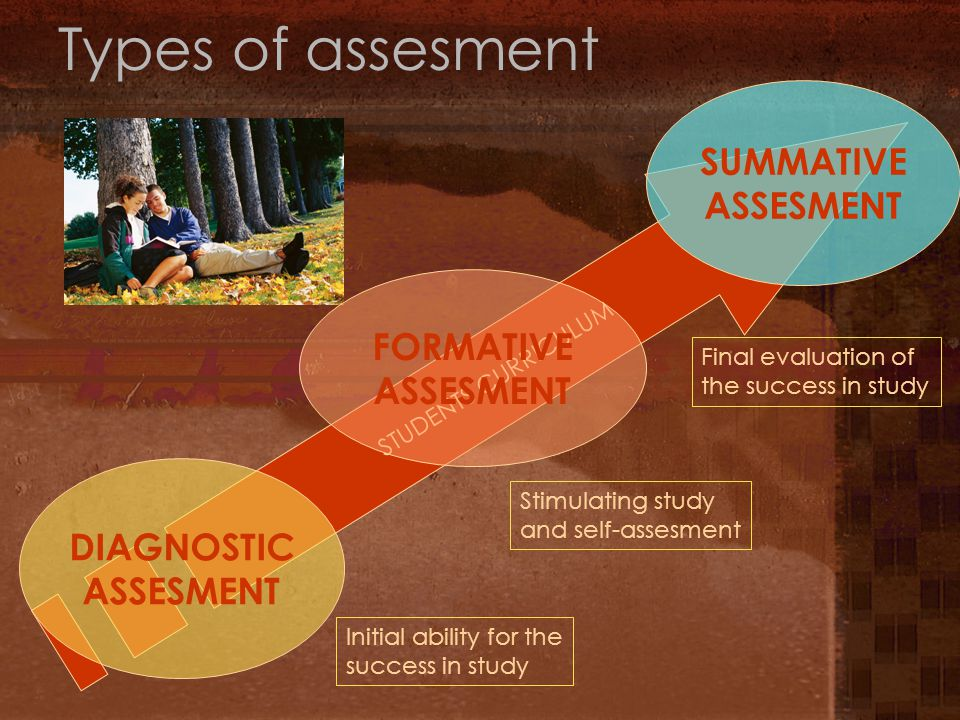 Types of assesment STUDENTS CURRICULUM DIAGNOSTIC ASSESMENT FORMATIVE ASSESMENT SUMMATIVE ASSESMENT Initial ability for the success in study Stimulating study and self-assesment Final evaluation of the success in study