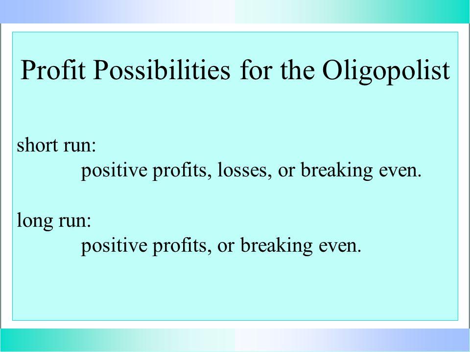 Profit Possibilities for the Oligopolist short run: positive profits, losses, or breaking even.