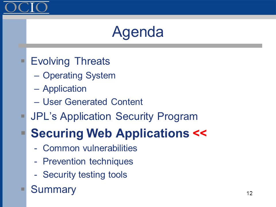 Agenda  Evolving Threats –Operating System –Application –User Generated Content  JPL's Application Security Program  Securing Web Applications << -Common vulnerabilities -Prevention techniques -Security testing tools  Summary 12
