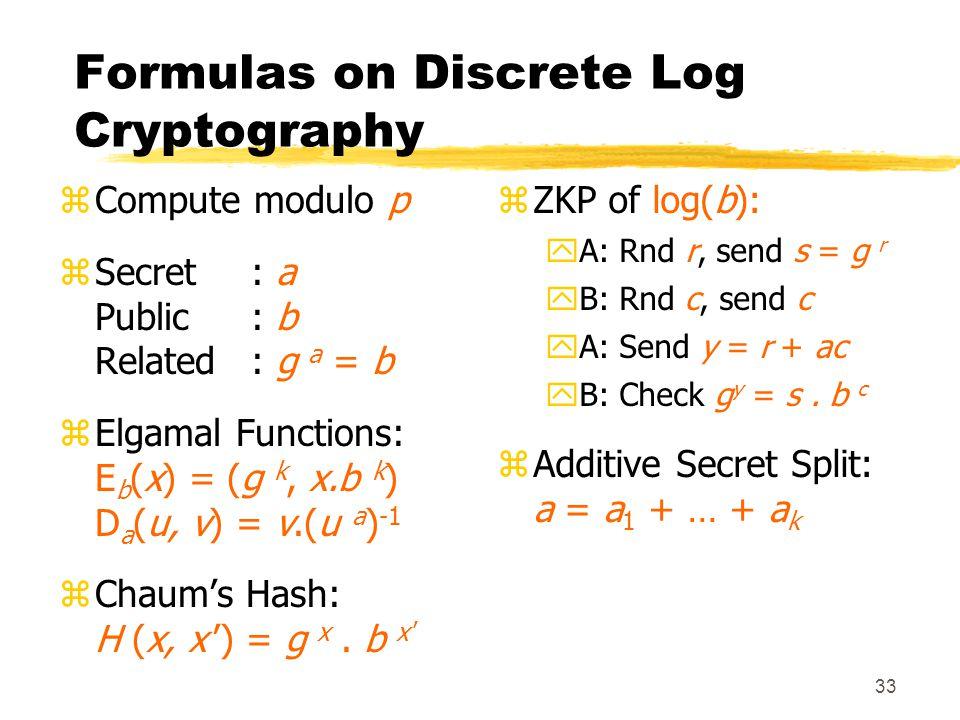 33 Formulas on Discrete Log Cryptography zCompute modulo p zSecret: a Public: b Related: g a = b zElgamal Functions: E b (x) = (g k, x.b k ) D a (u, v) = v.(u a ) -1 zChaum's Hash: H (x, x ') = g x.