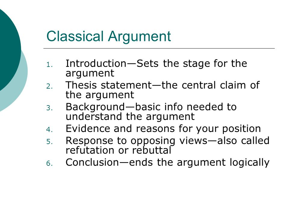 Classical Argument 1. Introduction—Sets the stage for the argument 2. Thesis statement—the central claim of the argument 3. Background—basic info need