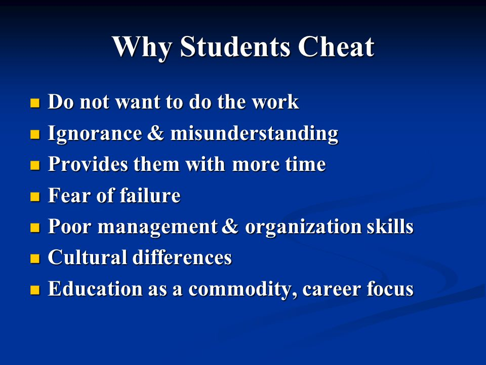 Why Students Cheat Higher education regarded as a game Higher education regarded as a game A high score by any means is acceptable, A high score by any means is acceptable, as long as no one is hurt or caught Grade is more important than the learning Grade is more important than the learning Pressure to perform overrides other considerations Pressure to perform overrides other considerations U of Alberta