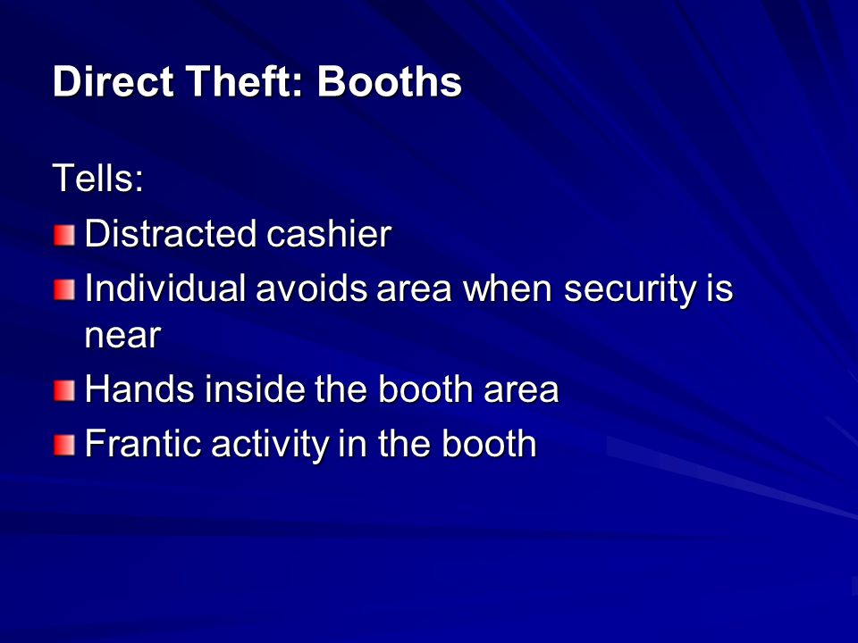 Preventive Procedures: Visible Security presence Cameras visible and in position to ID anyone at the window Alertness of booth personnel Wide counters and other barriers to keep money out of reach from outside