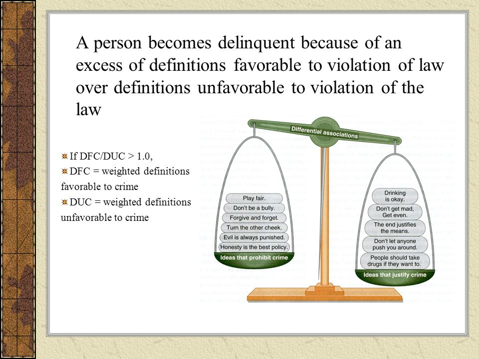 A person becomes delinquent because of an excess of definitions favorable to violation of law over definitions unfavorable to violation of the law If