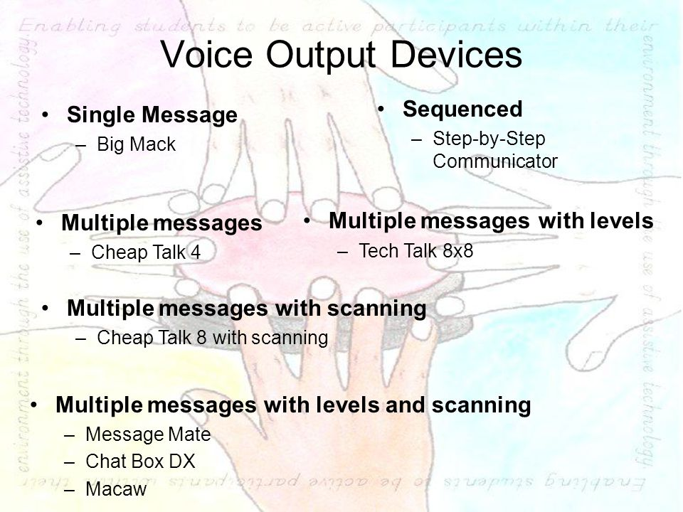 Voice Output Devices Single Message –Big Mack Multiple messages with levels and scanning –Message Mate –Chat Box DX –Macaw Multiple messages –Cheap Talk 4 Multiple messages with levels –Tech Talk 8x8 Sequenced –Step-by-Step Communicator Multiple messages with scanning –Cheap Talk 8 with scanning