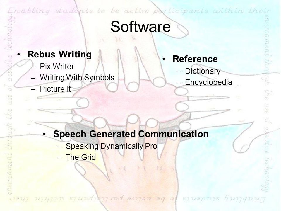 Software Rebus Writing –Pix Writer –Writing With Symbols –Picture It Speech Generated Communication –Speaking Dynamically Pro –The Grid Reference –Dictionary –Encyclopedia