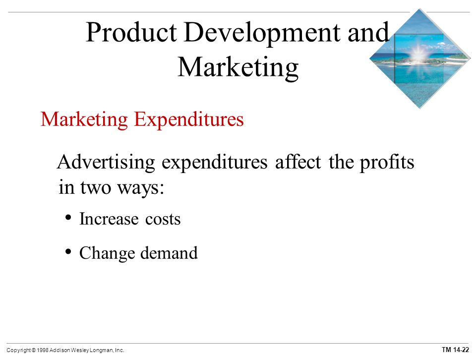 TM 14-22 Copyright © 1998 Addison Wesley Longman, Inc. Product Development and Marketing Marketing Expenditures Advertising expenditures affect the pr