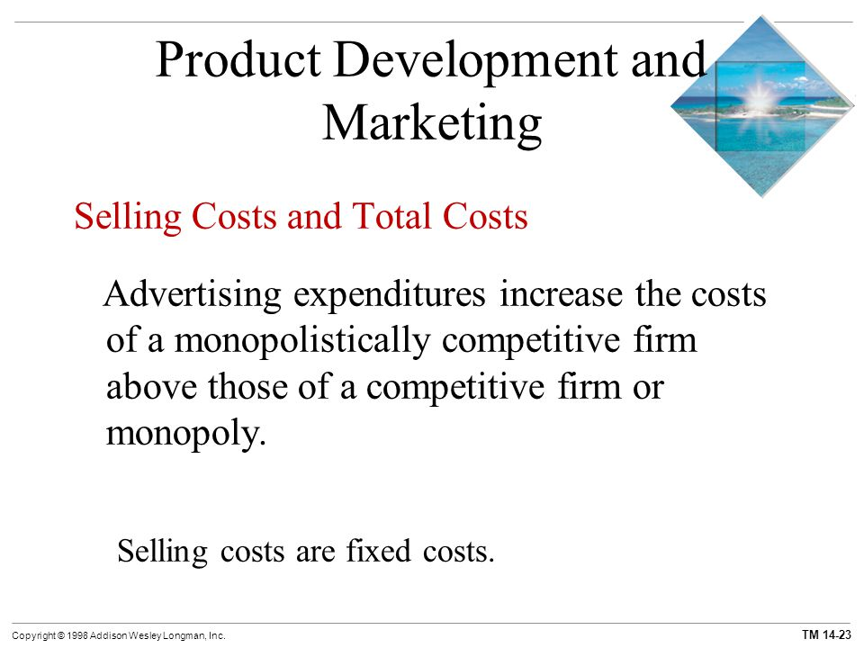 TM 14-23 Copyright © 1998 Addison Wesley Longman, Inc. Product Development and Marketing Selling Costs and Total Costs Advertising expenditures increa