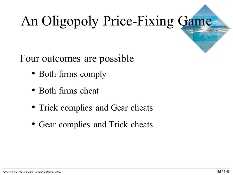 TM 14-48 Copyright © 1998 Addison Wesley Longman, Inc. An Oligopoly Price-Fixing Game Four outcomes are possible Both firms comply Both firms cheat Tr