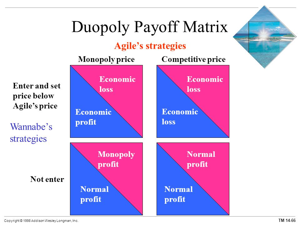 TM 14-66 Copyright © 1998 Addison Wesley Longman, Inc. Duopoly Payoff Matrix Agile's strategies Monopoly priceCompetitive price Wannabe's strategies E