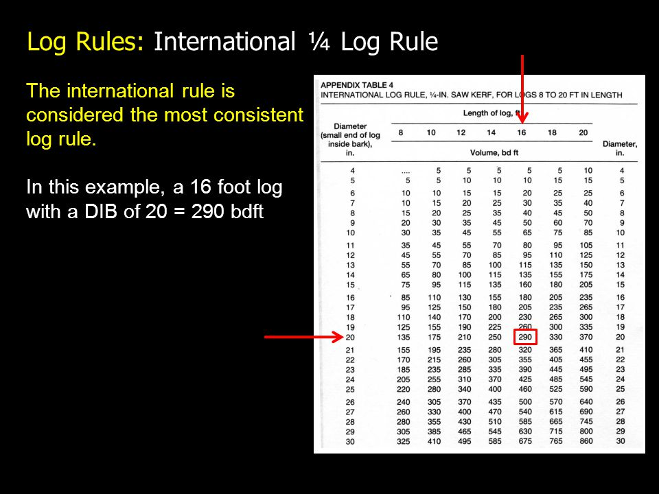 Log Rules: International ¼ Log Rule The international rule is considered the most consistent log rule.