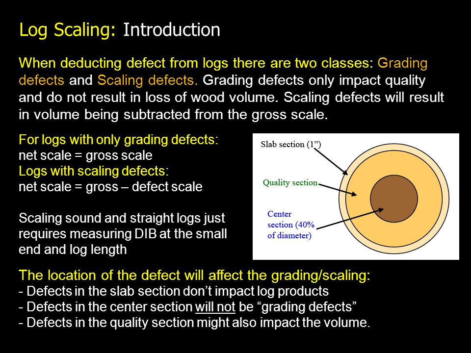 Log Scaling: Introduction When deducting defect from logs there are two classes: Grading defects and Scaling defects.