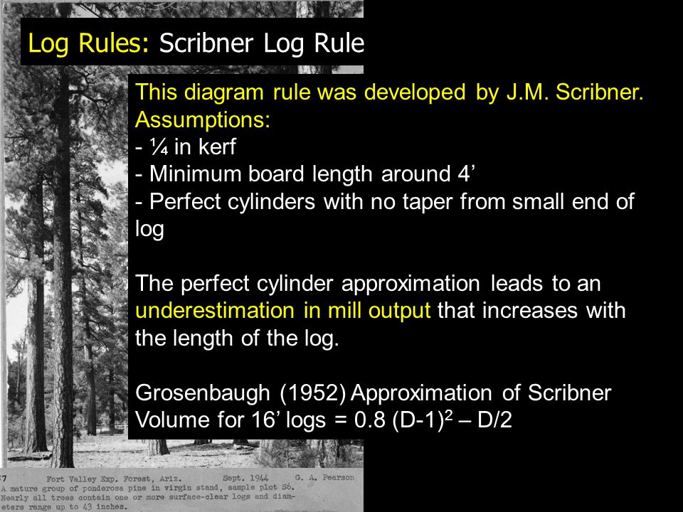Log Rules: Scribner Log Rule This diagram rule was developed by J.M.