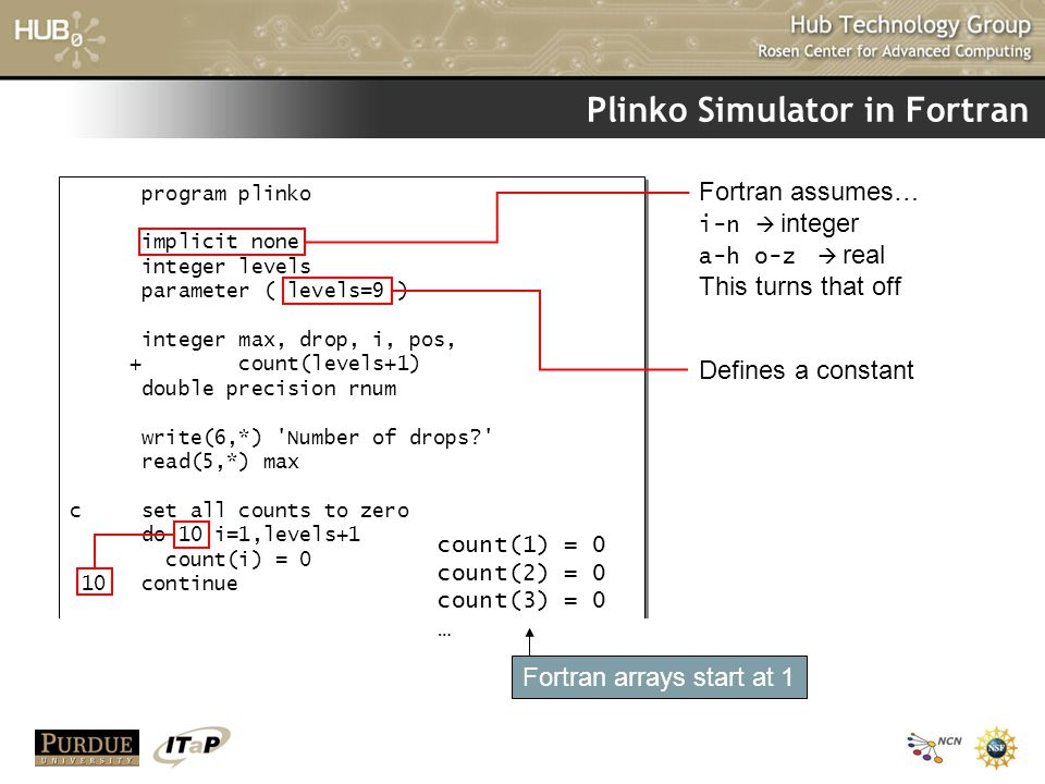 Plinko Simulator in Fortran program plinko implicit none integer levels parameter ( levels=9 ) integer max, drop, i, pos, + count(levels+1) double precision rnum write(6,*) Number of drops read(5,*) max c set all counts to zero do 10 i=1,levels+1 count(i) = 0 10 continue program plinko implicit none integer levels parameter ( levels=9 ) integer max, drop, i, pos, + count(levels+1) double precision rnum write(6,*) Number of drops read(5,*) max c set all counts to zero do 10 i=1,levels+1 count(i) = 0 10 continue Fortran assumes… i-n  integer a-h o-z  real This turns that off Defines a constant count(1) = 0 count(2) = 0 count(3) = 0 … Fortran arrays start at 1