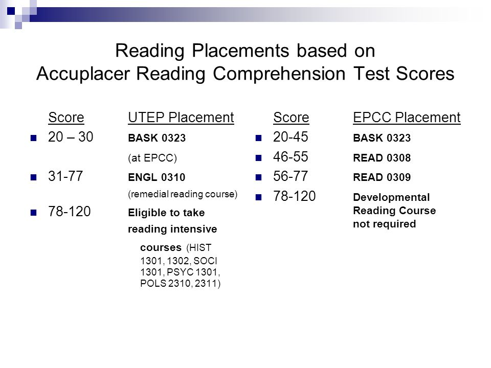 Reading Placements based on Accuplacer Reading Comprehension Test Scores ScoreUTEP Placement 20 – 30 BASK 0323 (at EPCC) 31-77 ENGL 0310 (remedial reading course) 78-120 Eligible to take reading intensive courses (HIST 1301, 1302, SOCI 1301, PSYC 1301, POLS 2310, 2311) ScoreEPCC Placement 20-45 BASK 0323 46-55 READ 0308 56-77 READ 0309 78-120 Developmental Reading Course not required