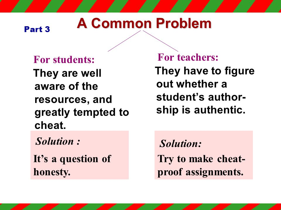 Part3 (Para.8-16) Cheating has become a problem for both _______ and ________. studentsteachers