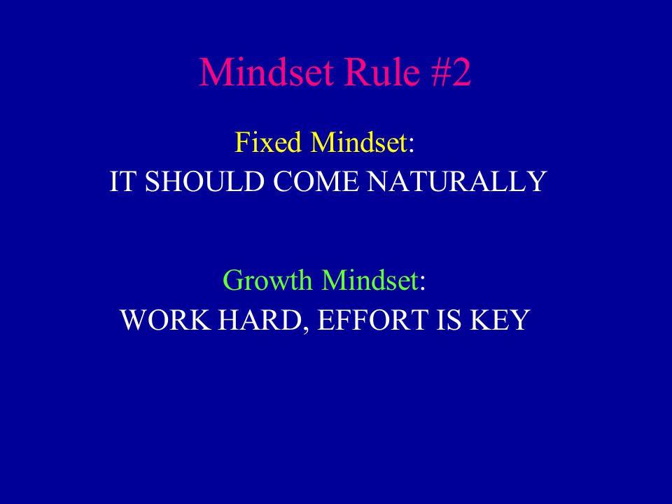 Mindset Rule #2 Fixed Mindset: IT SHOULD COME NATURALLY Growth Mindset: WORK HARD, EFFORT IS KEY