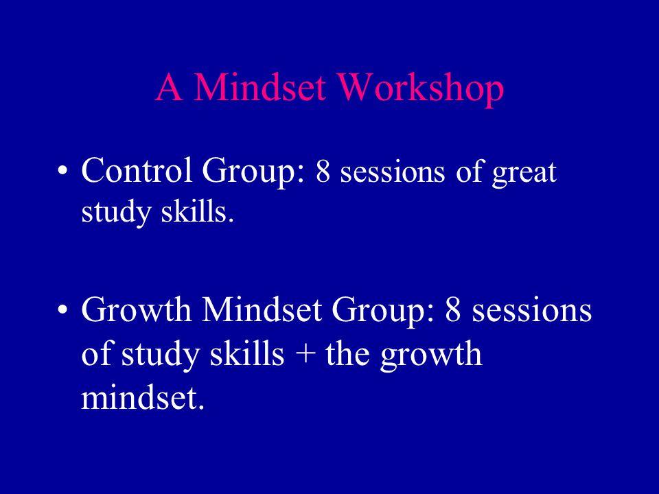A Mindset Workshop Control Group: 8 sessions of great study skills. Growth Mindset Group: 8 sessions of study skills + the growth mindset.