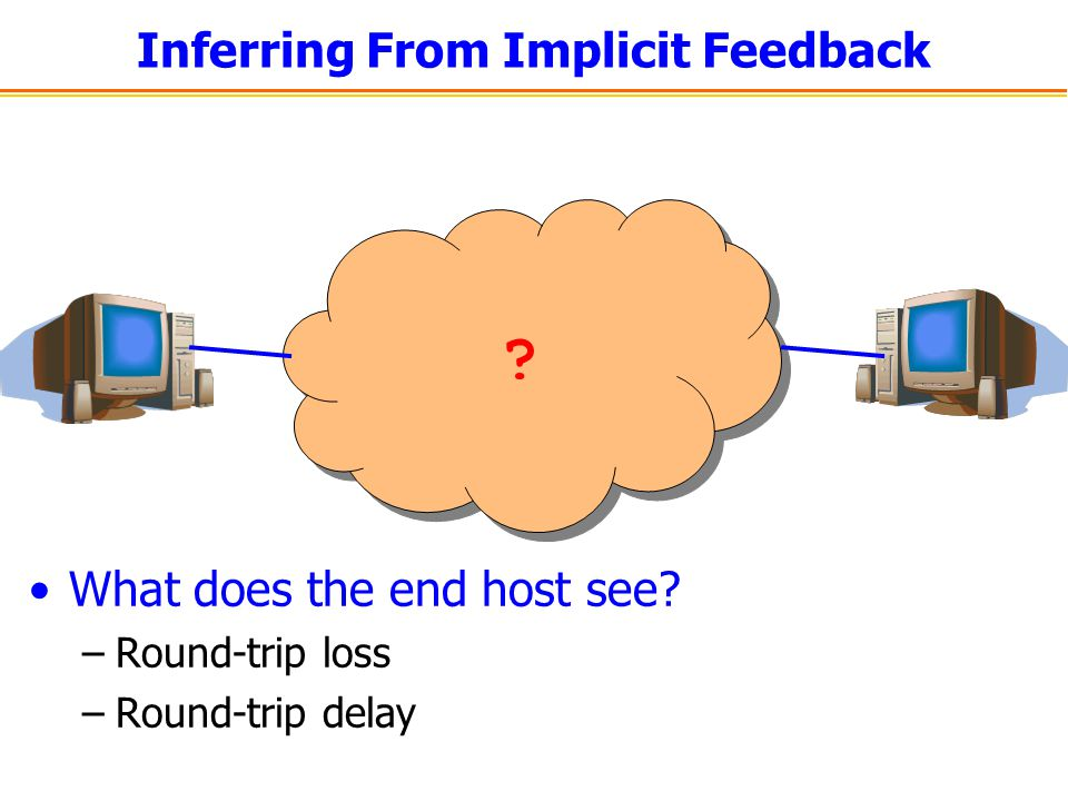 Inferring From Implicit Feedback What does the end host see –Round-trip loss –Round-trip delay
