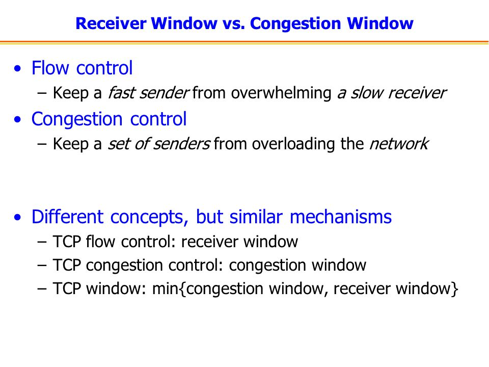 Receiver Window vs.