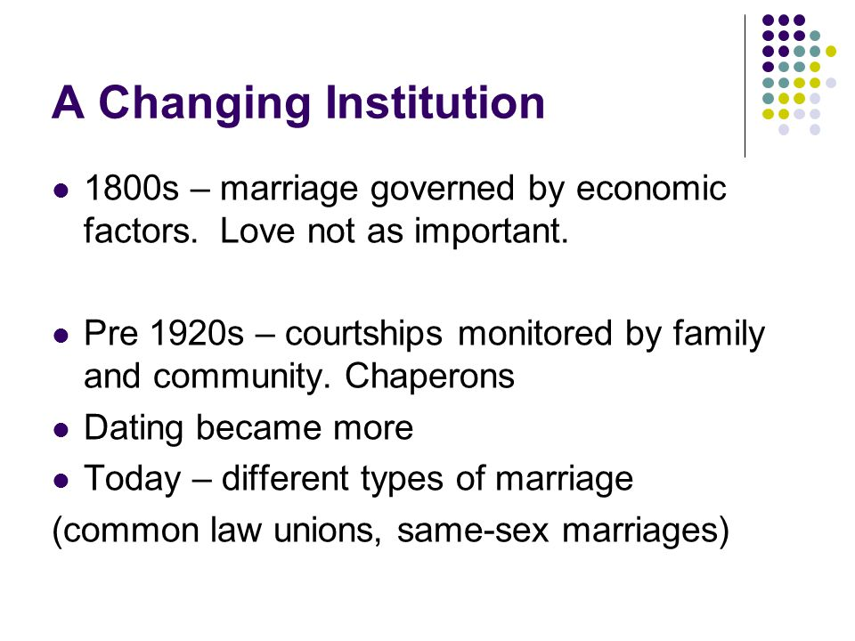 A Changing Institution 1800s – marriage governed by economic factors. Love not as important. Pre 1920s – courtships monitored by family and community.
