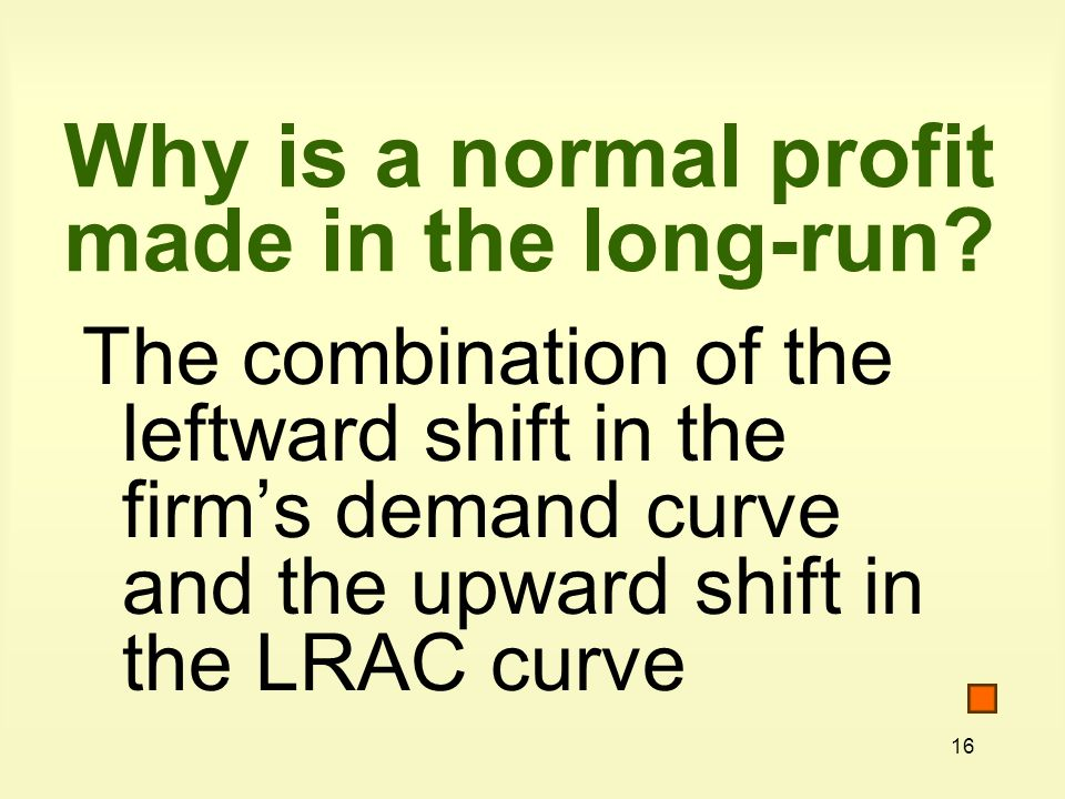 16 Why is a normal profit made in the long-run.