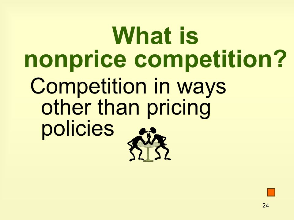 24 What is nonprice competition Competition in ways other than pricing policies