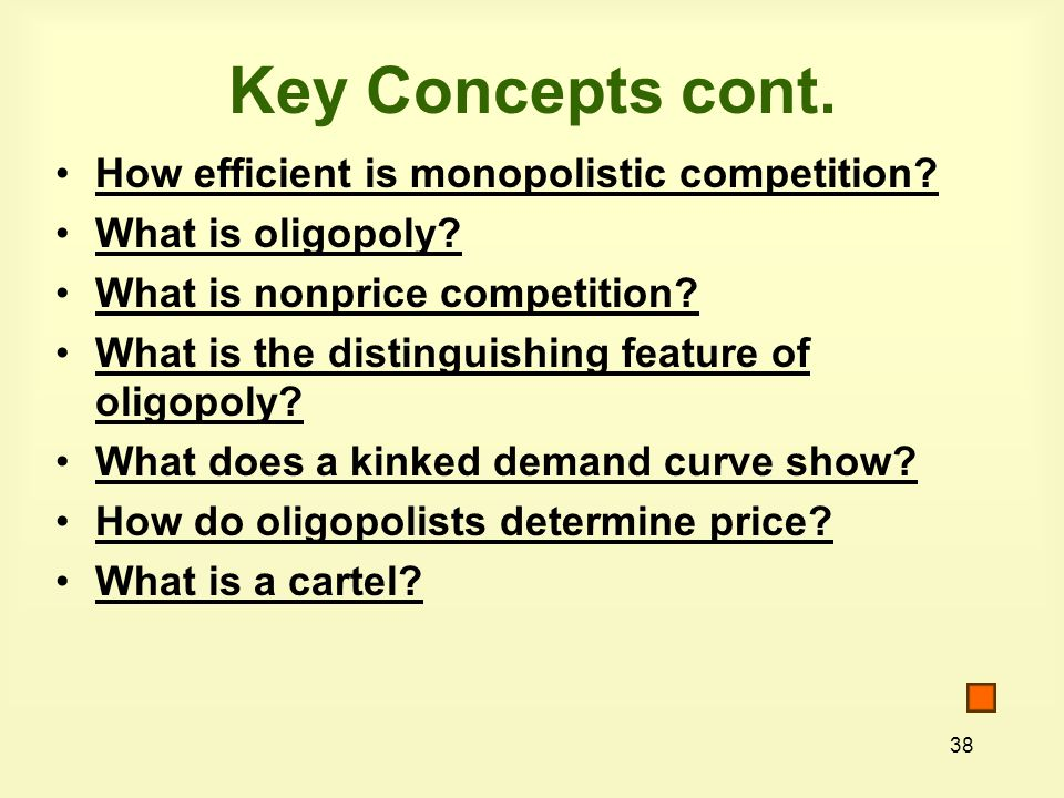 38 How efficient is monopolistic competition. What is oligopoly.