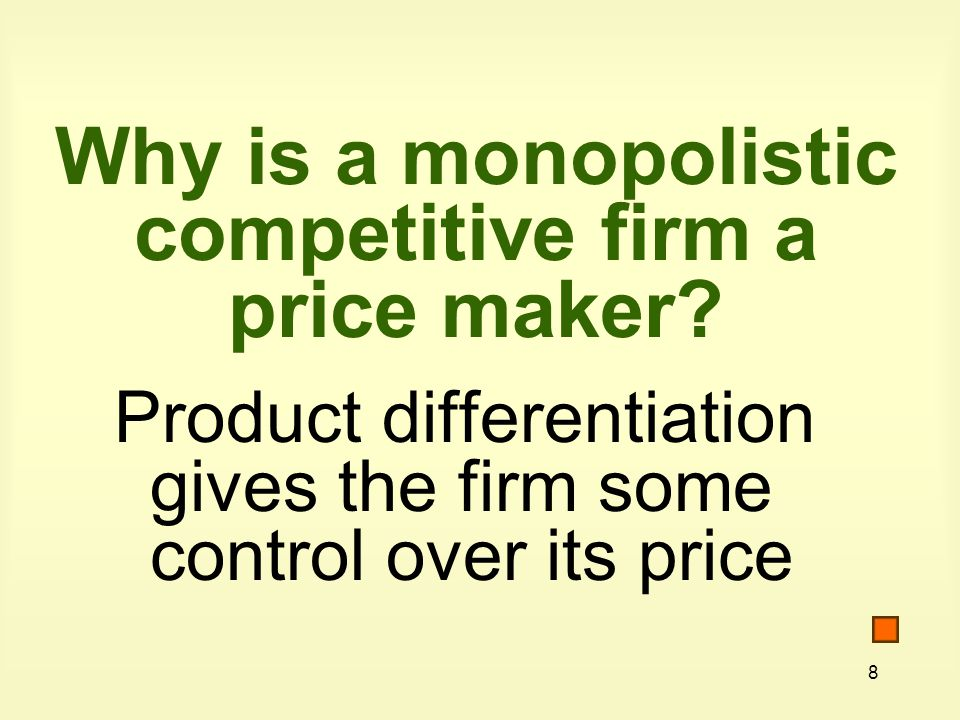 49 Oligopoly is a market structure characterized by (1) few sellers, (2) a homogeneous or differentiated product, and (3) difficult market entry.