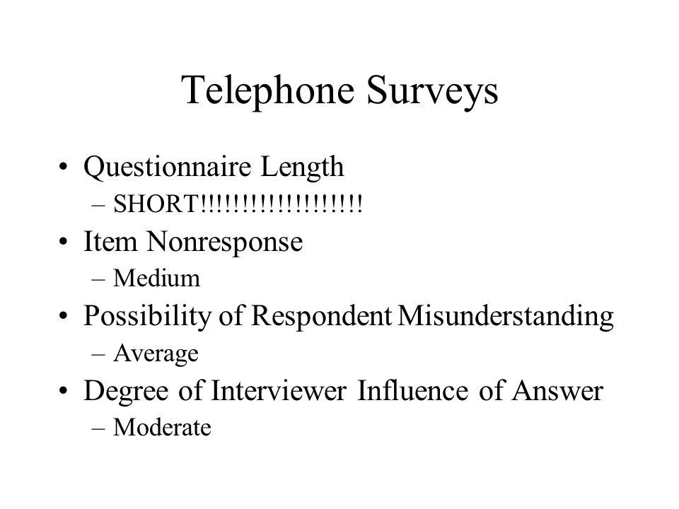Telephone Surveys Questionnaire Length –SHORT!!!!!!!!!!!!!!!!!!! Item Nonresponse –Medium Possibility of RespondentMisunderstanding –Average Degree of