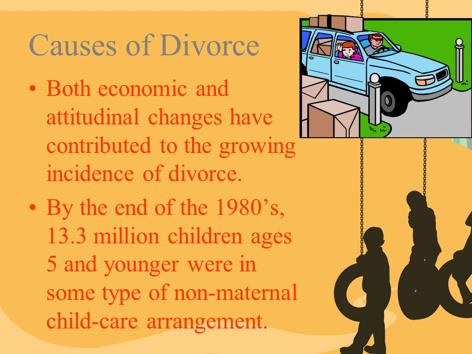 Causes of Divorce Both economic and attitudinal changes have contributed to the growing incidence of divorce. By the end of the 1980's, 13.3 million c