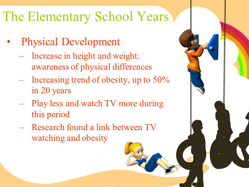 The Elementary School Years Physical Development –Increase in height and weight: awareness of physical differences –Increasing trend of obesity, up to