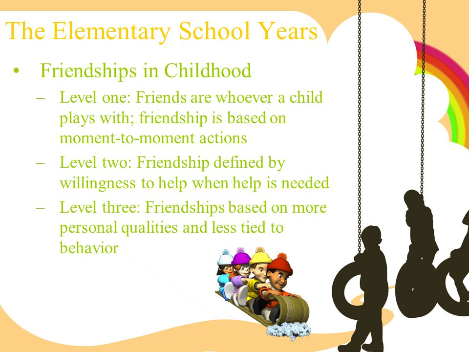 The Elementary School Years Friendships in Childhood –Level one: Friends are whoever a child plays with; friendship is based on moment-to-moment actio