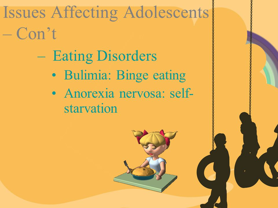 Issues Affecting Adolescents – Con't –Eating Disorders Bulimia: Binge eating Anorexia nervosa: self- starvation