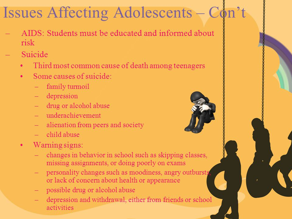 Issues Affecting Adolescents – Con't –AIDS: Students must be educated and informed about risk –Suicide Third most common cause of death among teenager