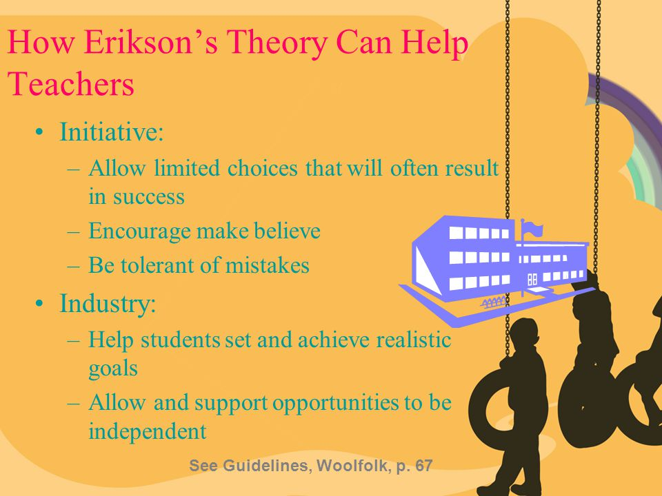 How Erikson's Theory Can Help Teachers Initiative: –Allow limited choices that will often result in success –Encourage make believe –Be tolerant of mi
