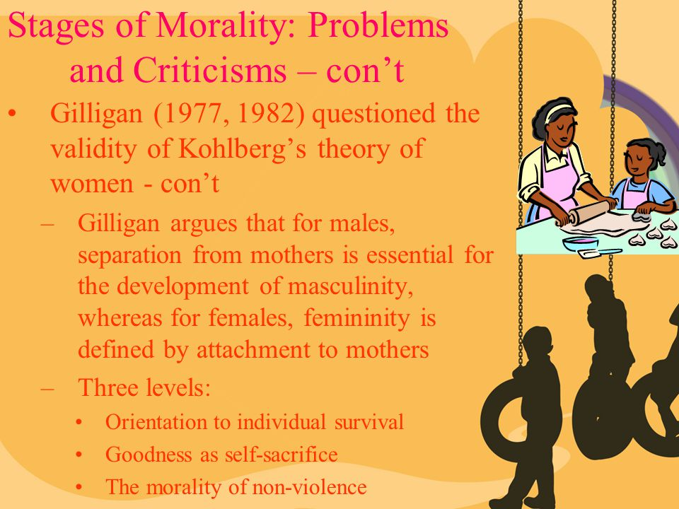 Stages of Morality: Problems and Criticisms – con't Gilligan (1977, 1982) questioned the validity of Kohlberg's theory of women - con't –Gilligan argu