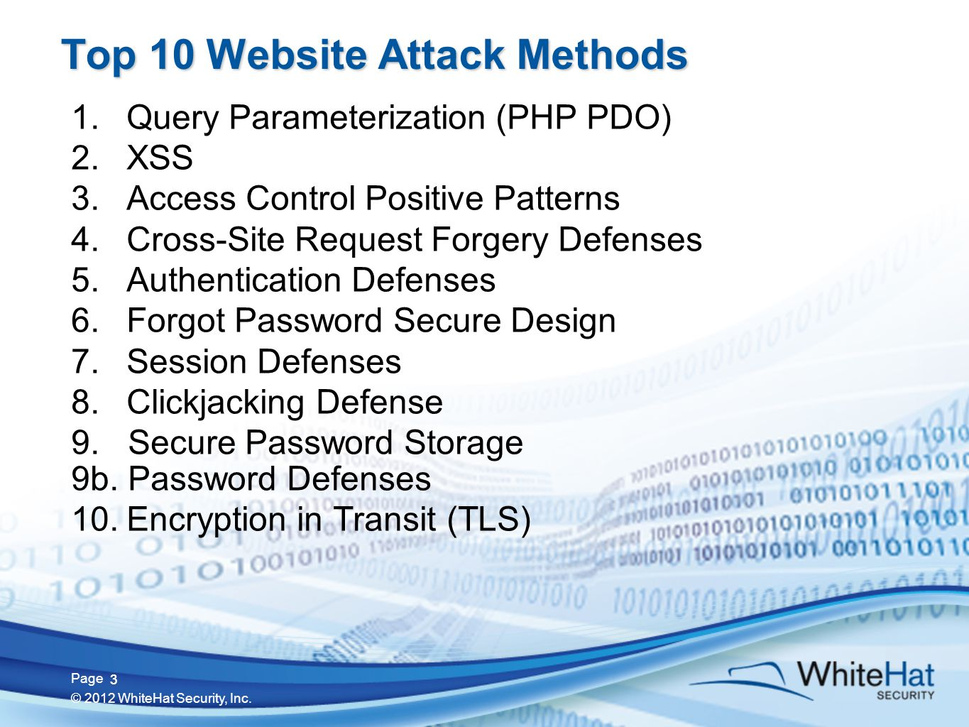 3 Page © 2012 WhiteHat Security, Inc.