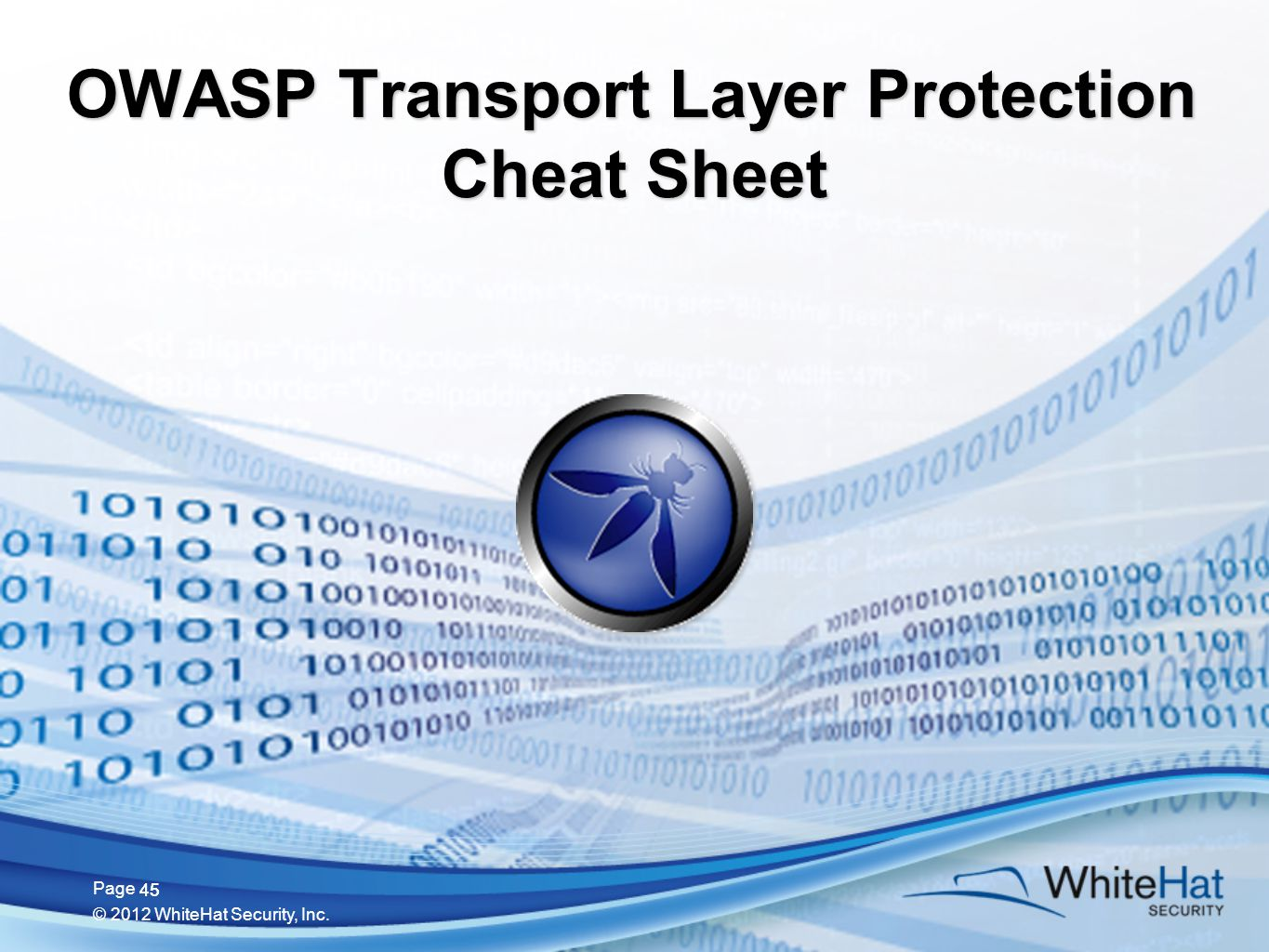 45 Page © 2012 WhiteHat Security, Inc. 45 OWASP Transport Layer Protection Cheat Sheet