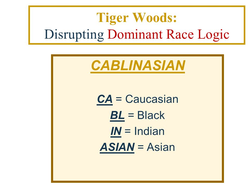 Tiger Woods: Disrupting Dominant Race Logic CABLINASIAN CA = Caucasian BL = Black IN = Indian ASIAN = Asian