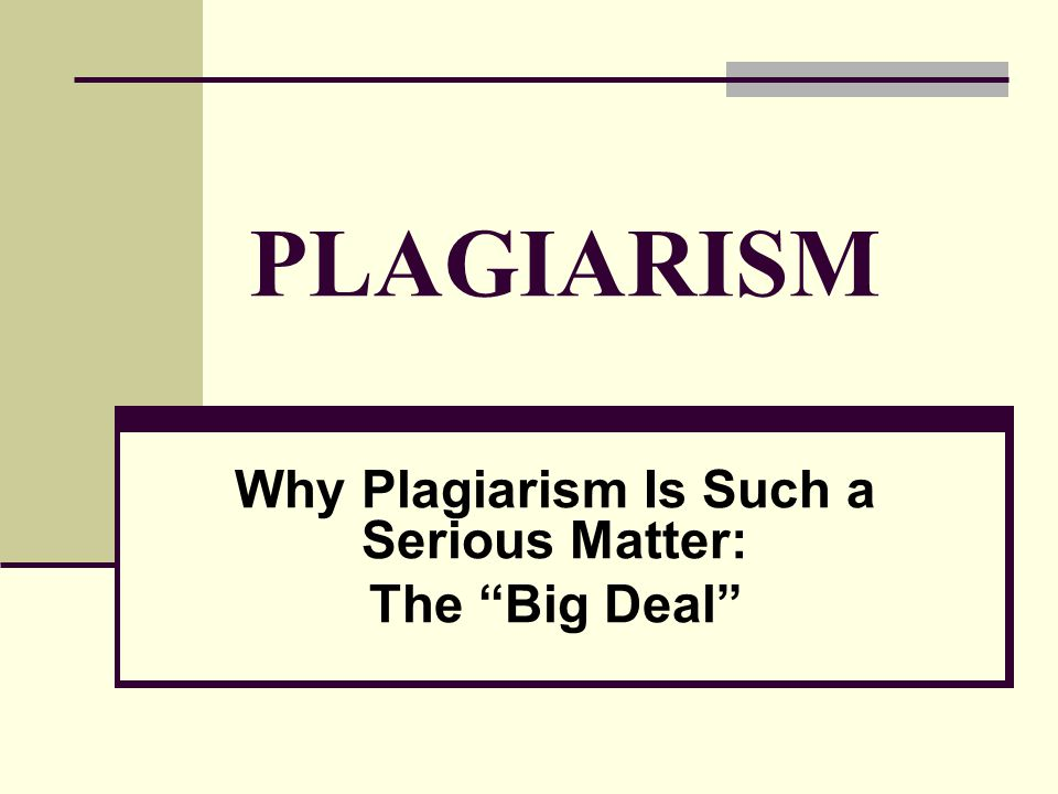PLAGIARISM Why Plagiarism Is Such a Serious Matter: The Big Deal
