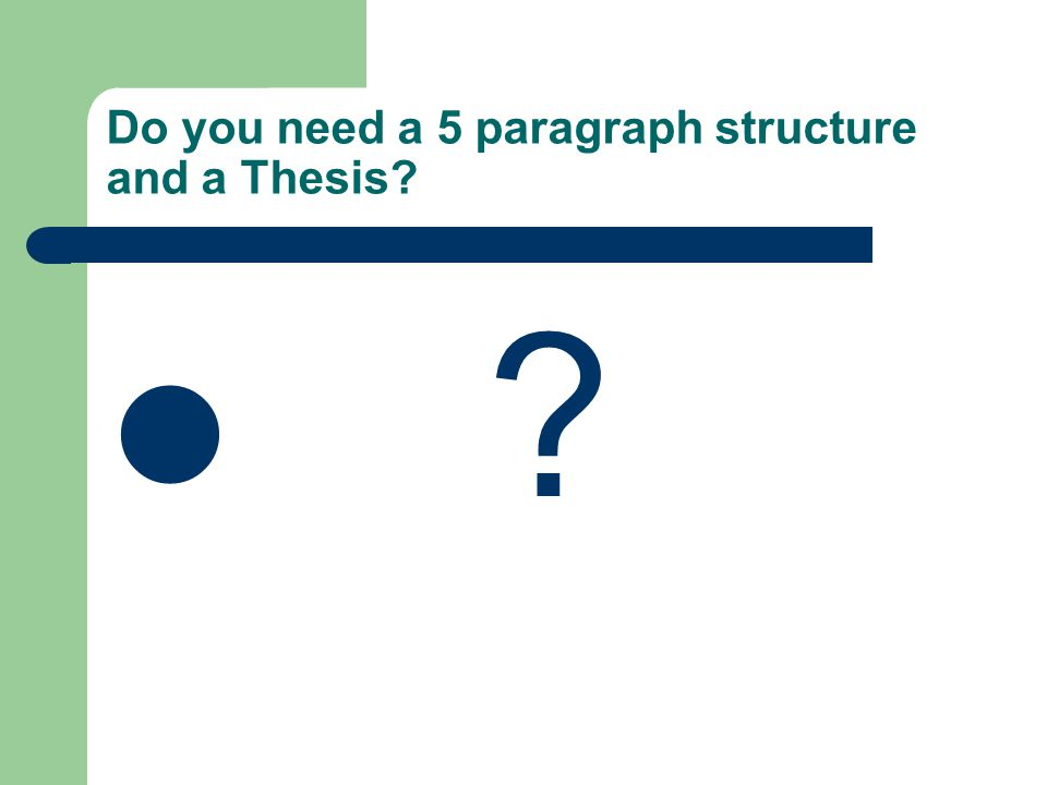 Do you need a 5 paragraph structure and a Thesis? ?
