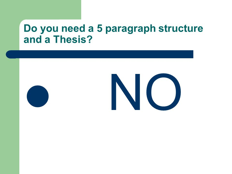 Do you need a 5 paragraph structure and a Thesis.