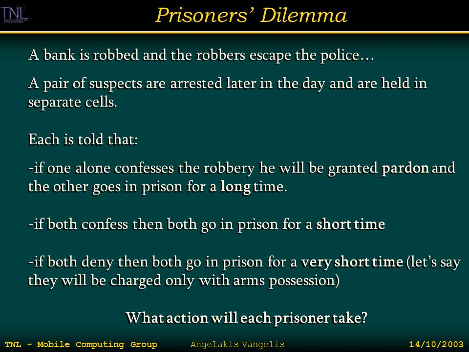 Prisoners' Dilemma TNL - Mobile Computing Group Angelakis Vangelis 14/10/2003 A bank is robbed and the robbers escape the police… A pair of suspects a
