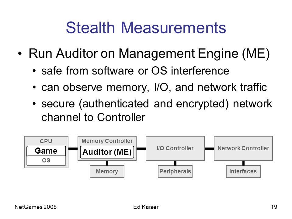 NetGames 200819Ed Kaiser Stealth Measurements Run Auditor on Management Engine (ME) safe from software or OS interference can observe memory, I/O, and