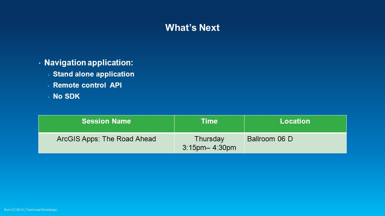 Esri UC 2014 | Technical Workshop | What's Next Navigation application: - Stand alone application - Remote control API - No SDK Session NameTimeLocati